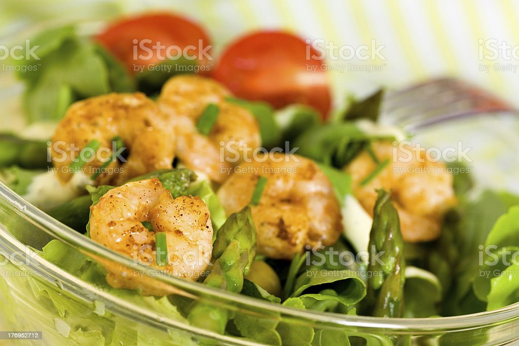 Fresh Salad with Prawns,Lettuce,Tomatoes and Olives royalty-free stock photo