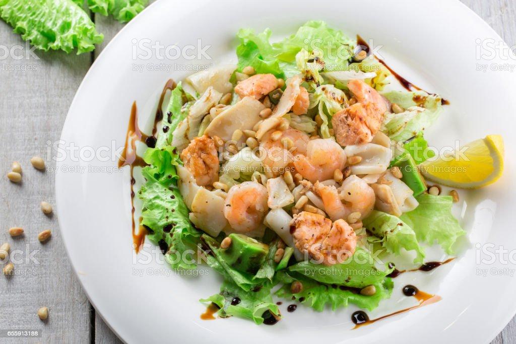 Fresh salad with shrimp stock photo