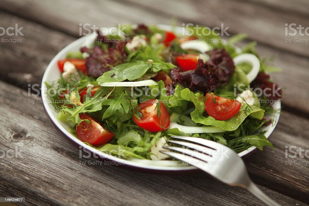 fresh salad with tomato and cucumber.green stock photo