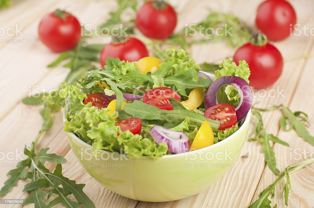 Fresh salad with tomatoes pepper and onions stock photo