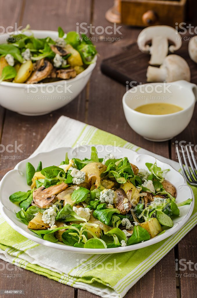 Fresh salad with vegetable and blue cheese stock photo