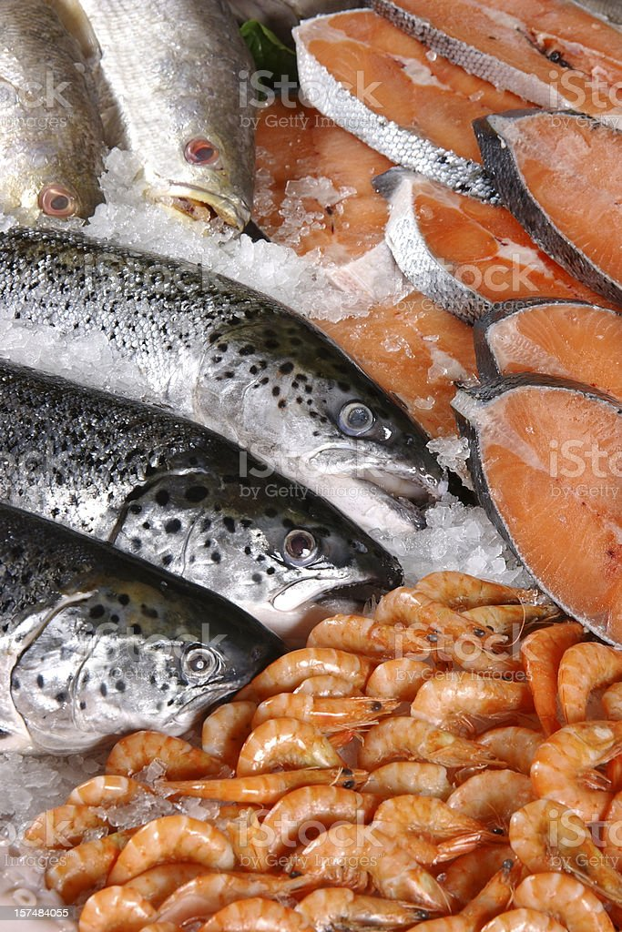 Fresh salmon and shrimp on ice royalty-free stock photo