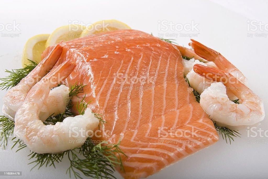 Fresh  Salmon and Shrimp royalty-free stock photo