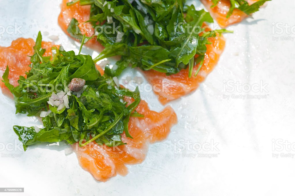 fresh salmon carpaccio stock photo