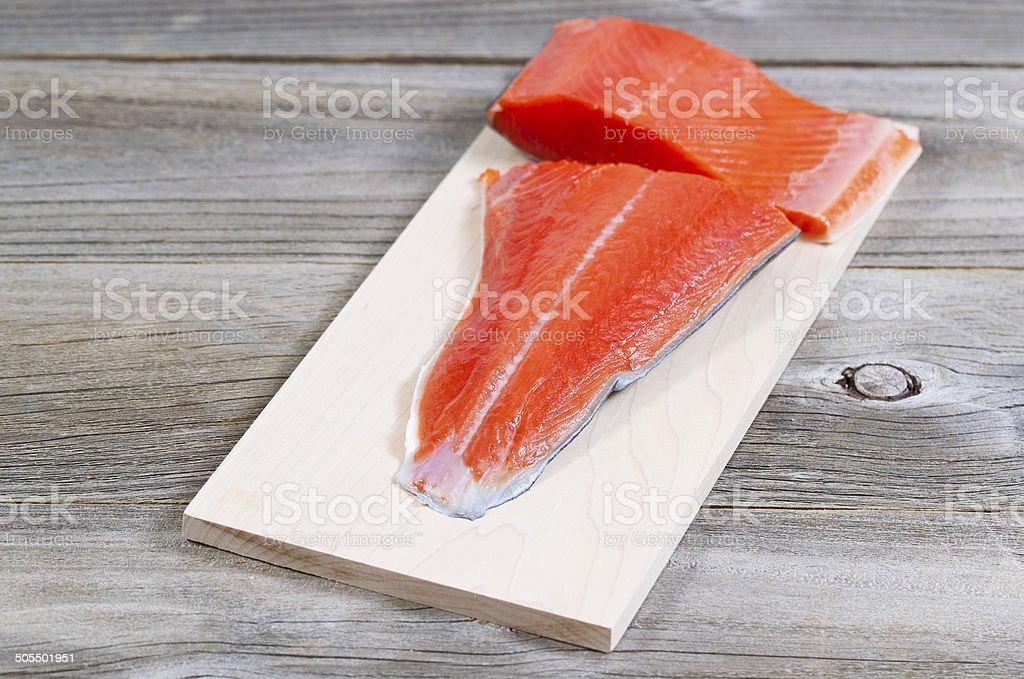 Fresh Salmon fillet ready to cook stock photo