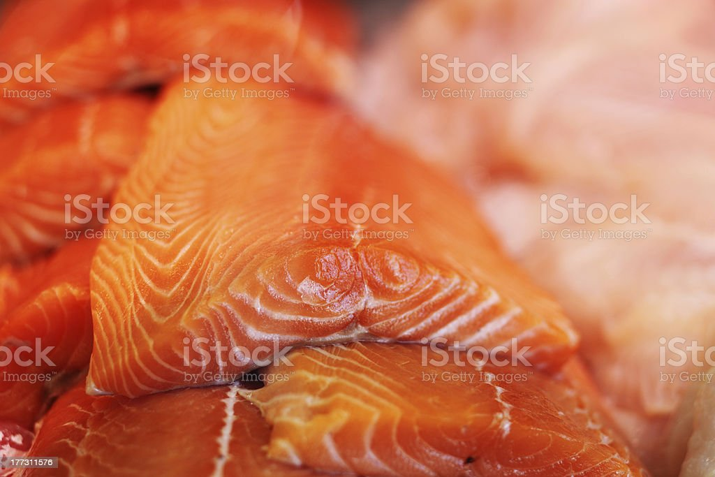 Fresh salmon fillets royalty-free stock photo