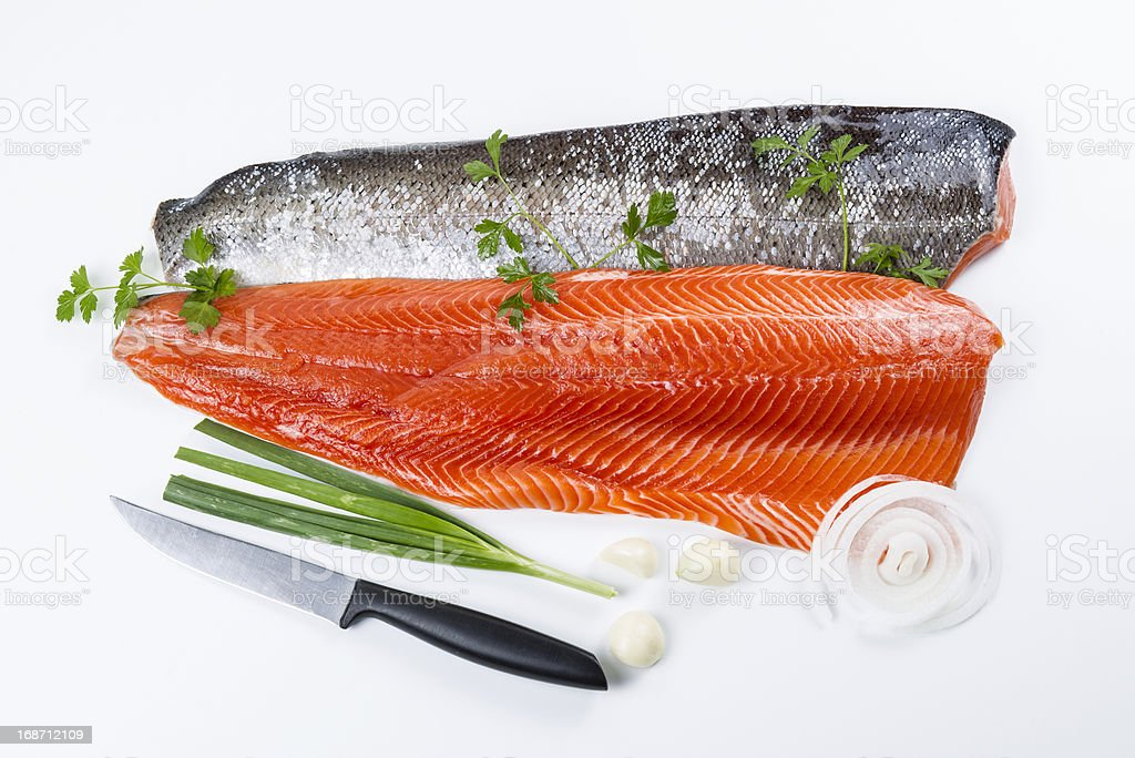 Fresh Salmon Fish Fillets with Herbs royalty-free stock photo