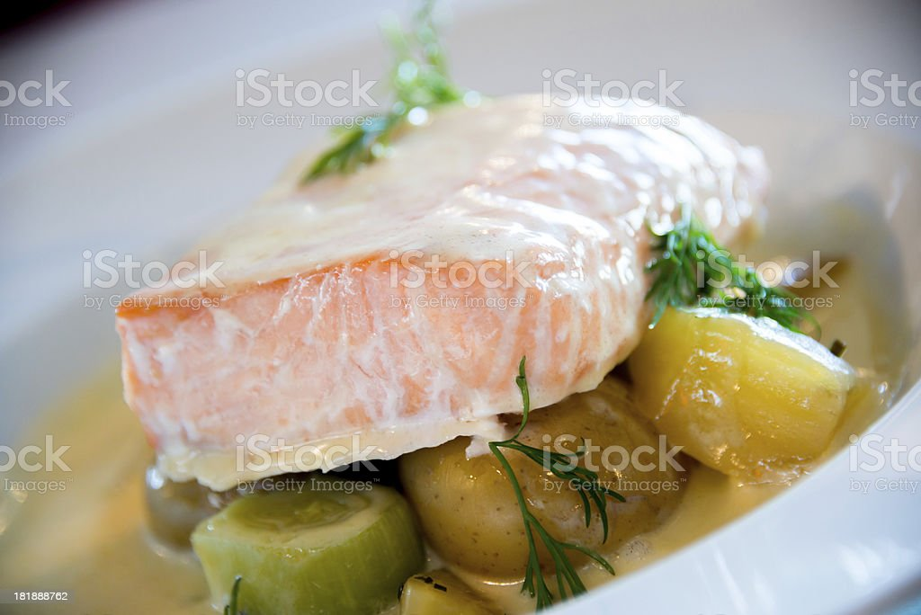 Fresh salmon on plate royalty-free stock photo