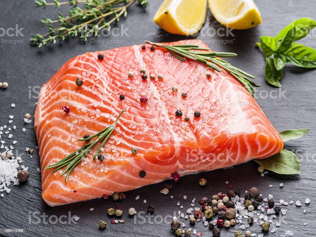 Fresh salmon on the cutting board. stock photo