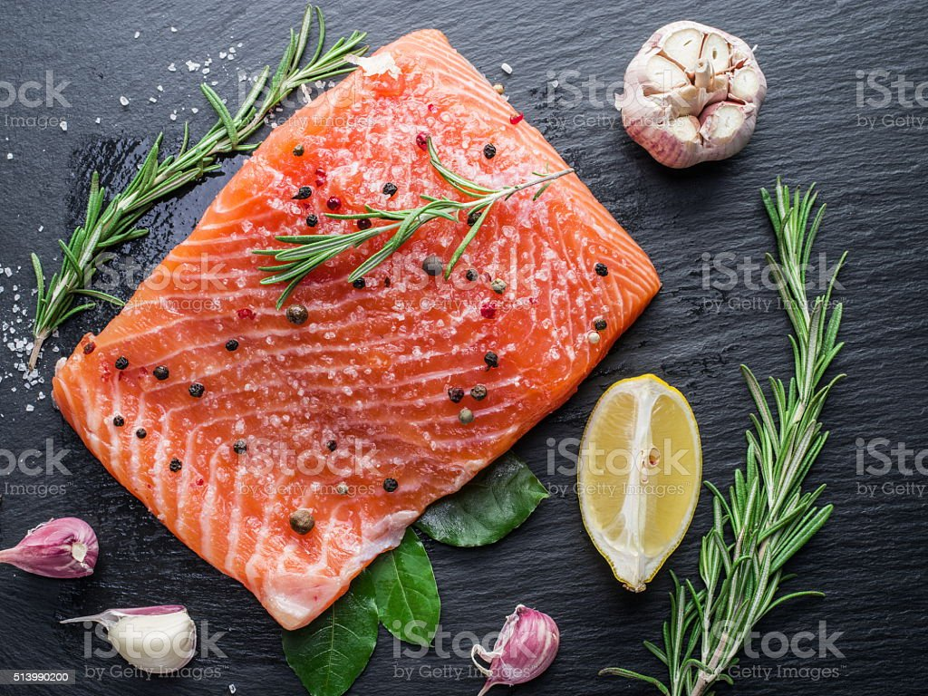 Fresh salmon on the cutting board. stock photo