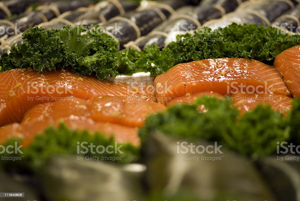 Fresh salmon steaks royalty-free stock photo
