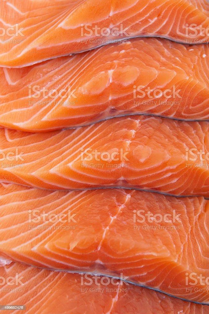 Fresh salmon steaks stock photo
