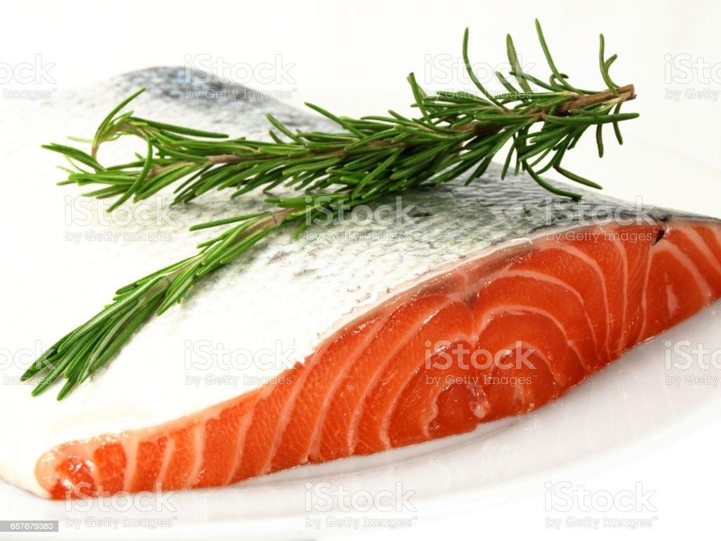 Fresh salmon with rosemary stock photo