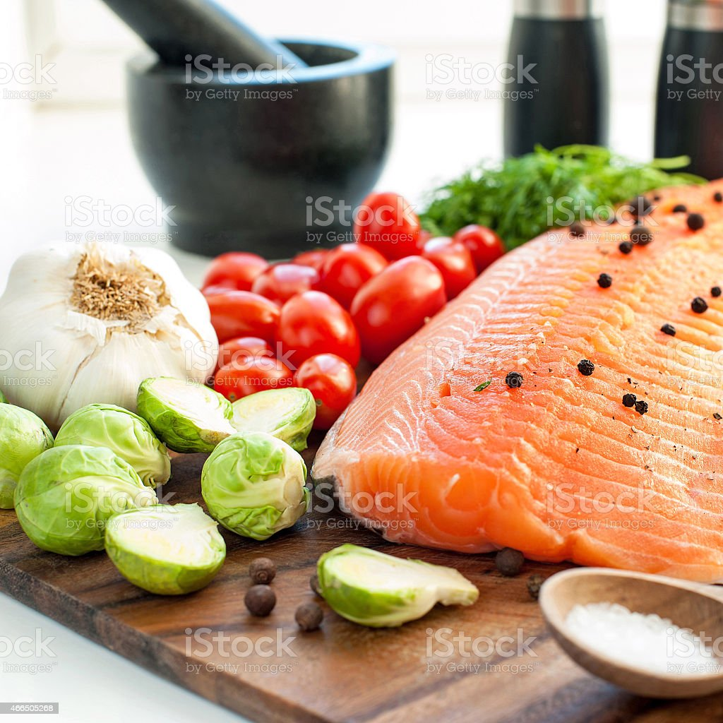 Fresh Salmon With Vegetables Ready To Eat, Ready To Cook Royaltyfree Fresh  Salmon With Vegetables