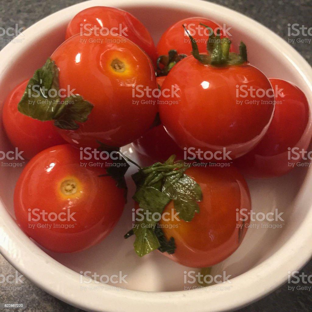Fresh salted tomato stock photo