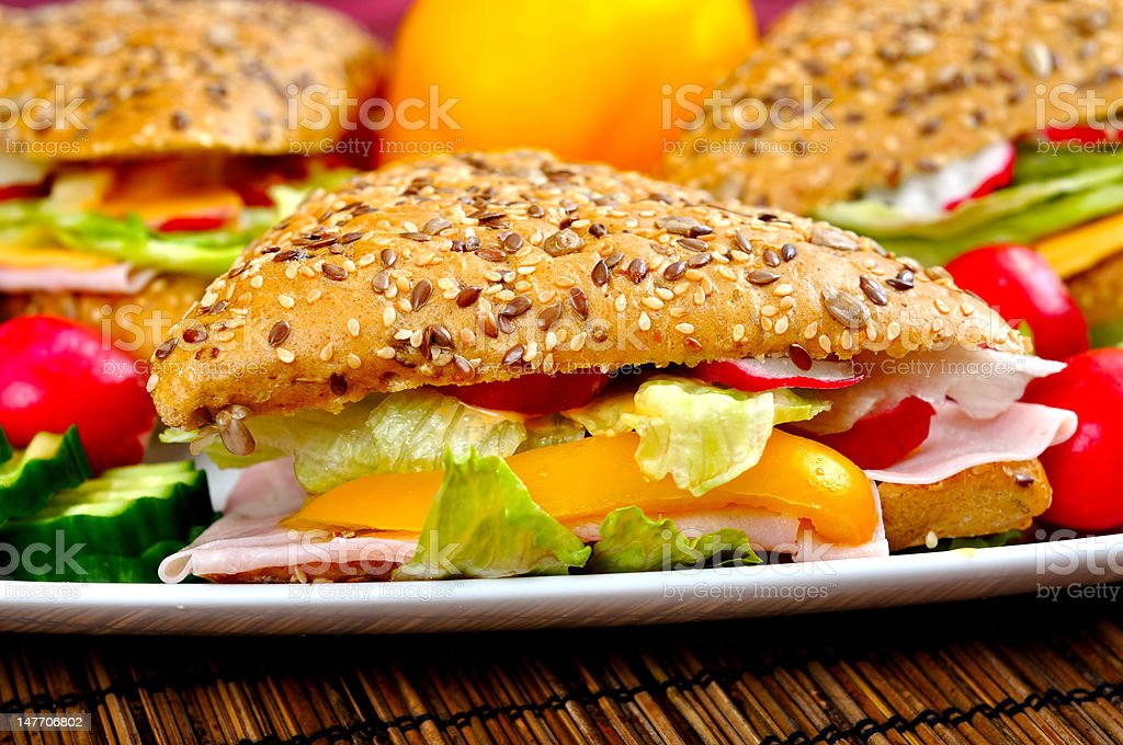Fresh sandwich with vegetable royalty-free stock photo