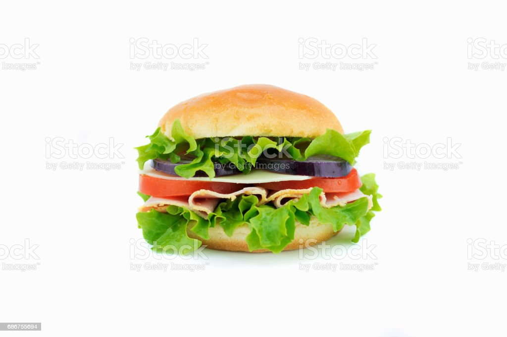 Fresh sandwich with vegetables and ham stock photo
