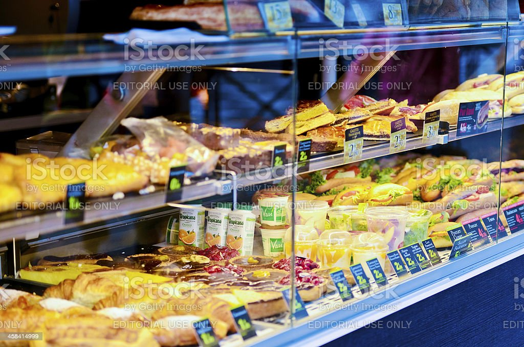 Fresh Sandwiches, Snacks and Drinks displayed for sale stock photo