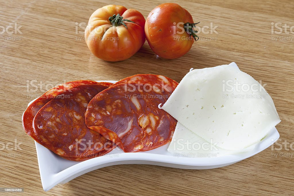 Fresh sausage on a plate royalty-free stock photo