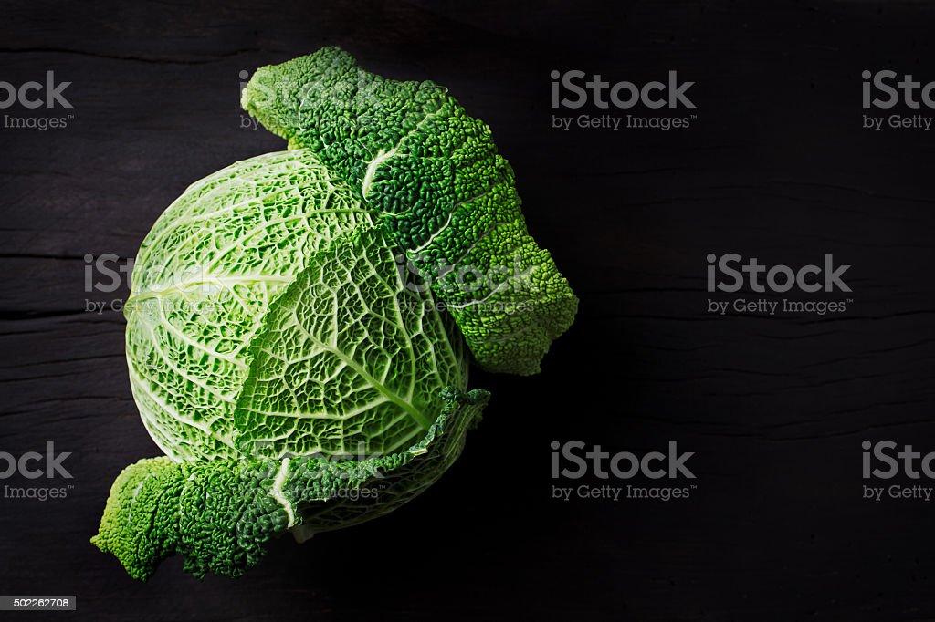 Fresh savoy cabbage stock photo