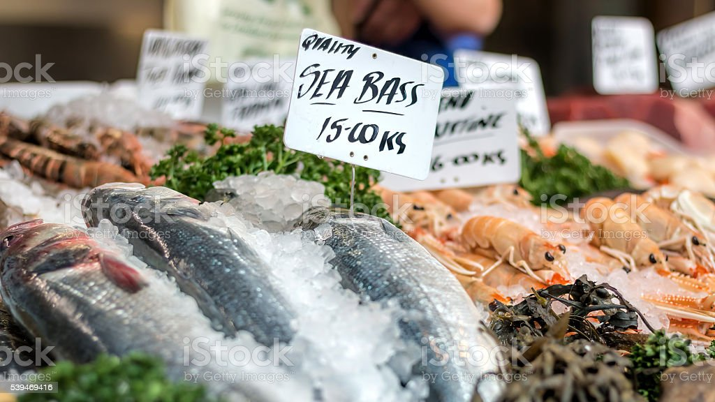 Fresh sea bass and seafood at market counter. stock photo