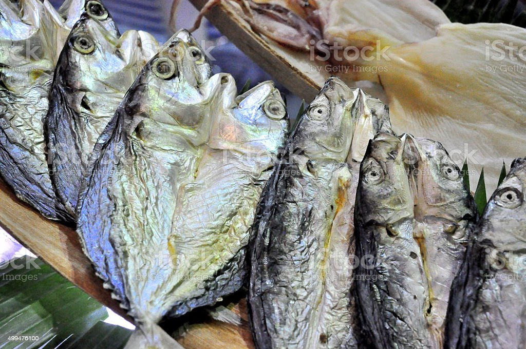Fresh seafood are being introduced stock photo