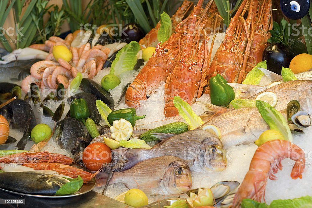 Fresh Seafood Arranged in Restaurant royalty-free stock photo