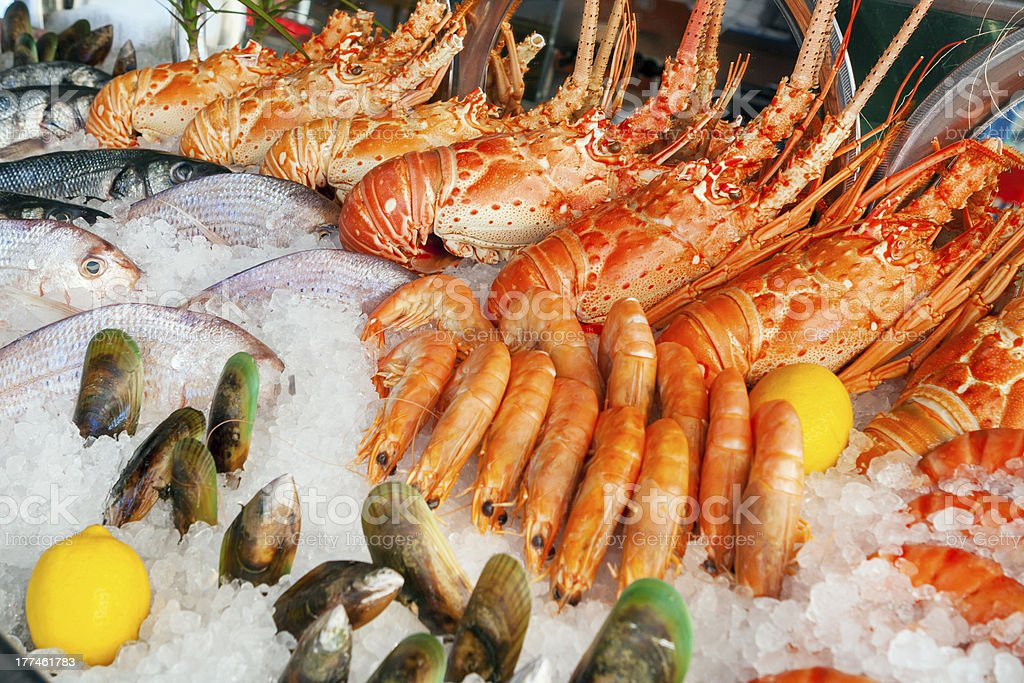 Fresh seafood at the market royalty-free stock photo