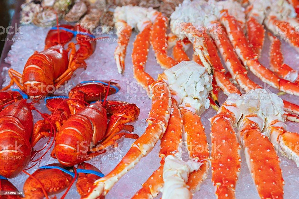 Fresh seafood background stock photo