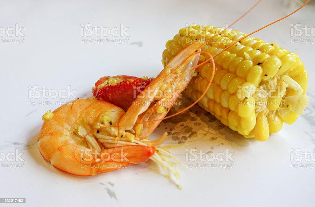 fresh seafood boil stock photo