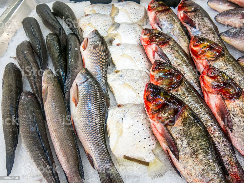 Fresh Seafood Fish Fishmonger Stall Ice stock photo