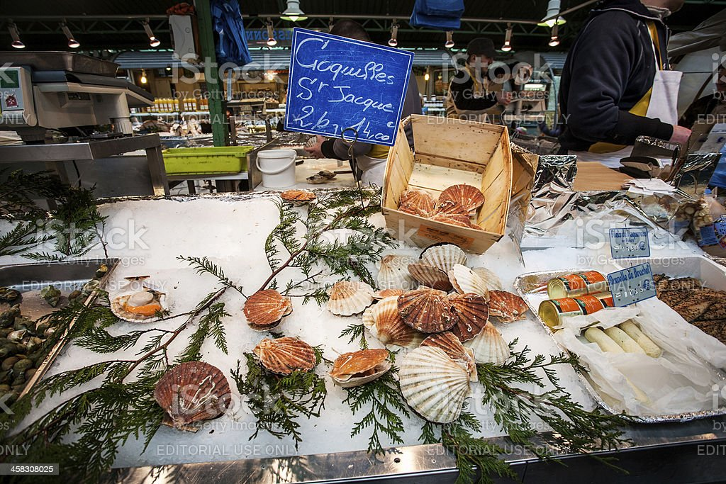 Fresh seafood in indoor market at Paris royalty-free stock photo