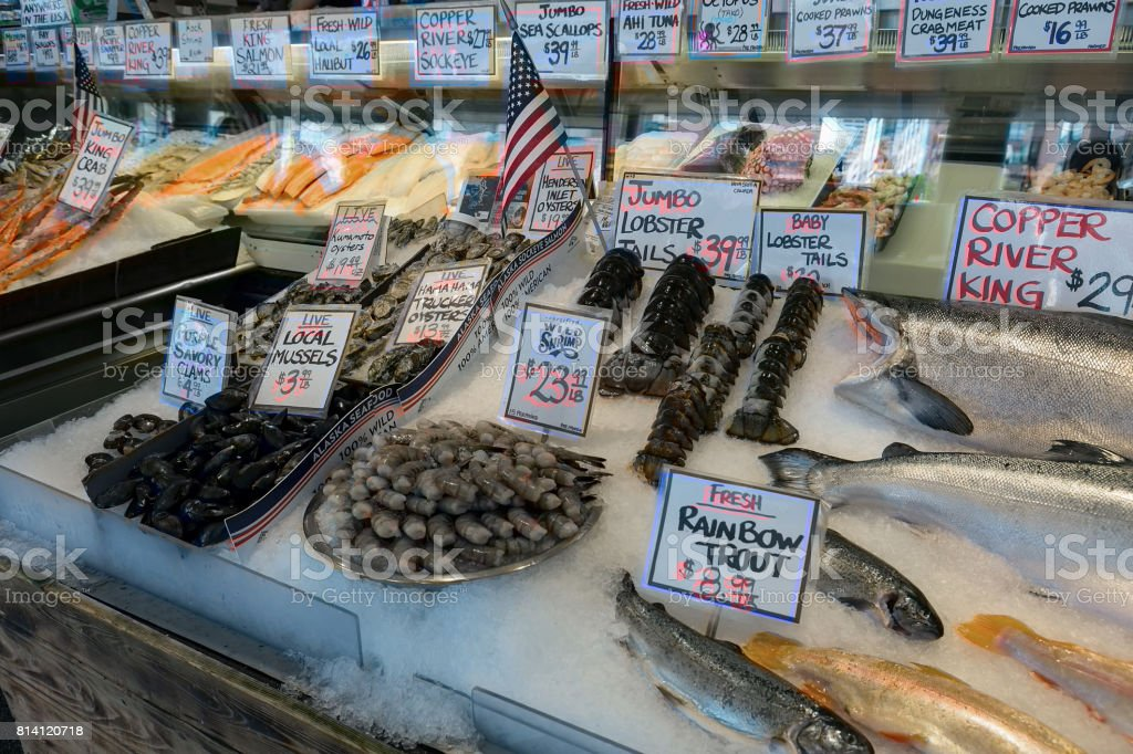 Fresh Seafood Market Stall stock photo