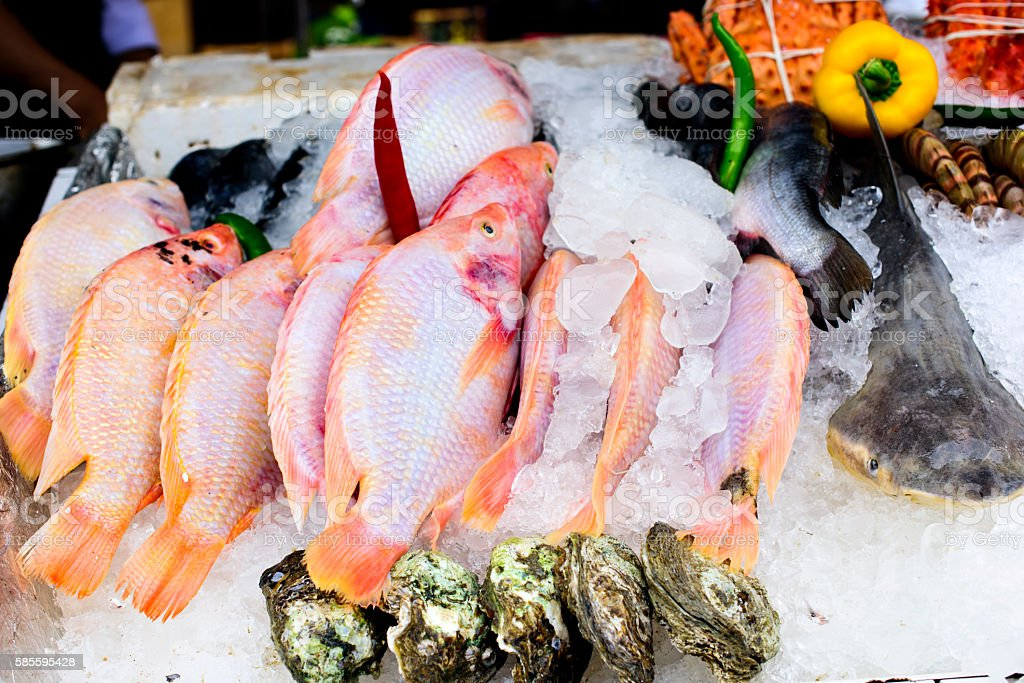 Fresh Seafood on a Street Market stock photo