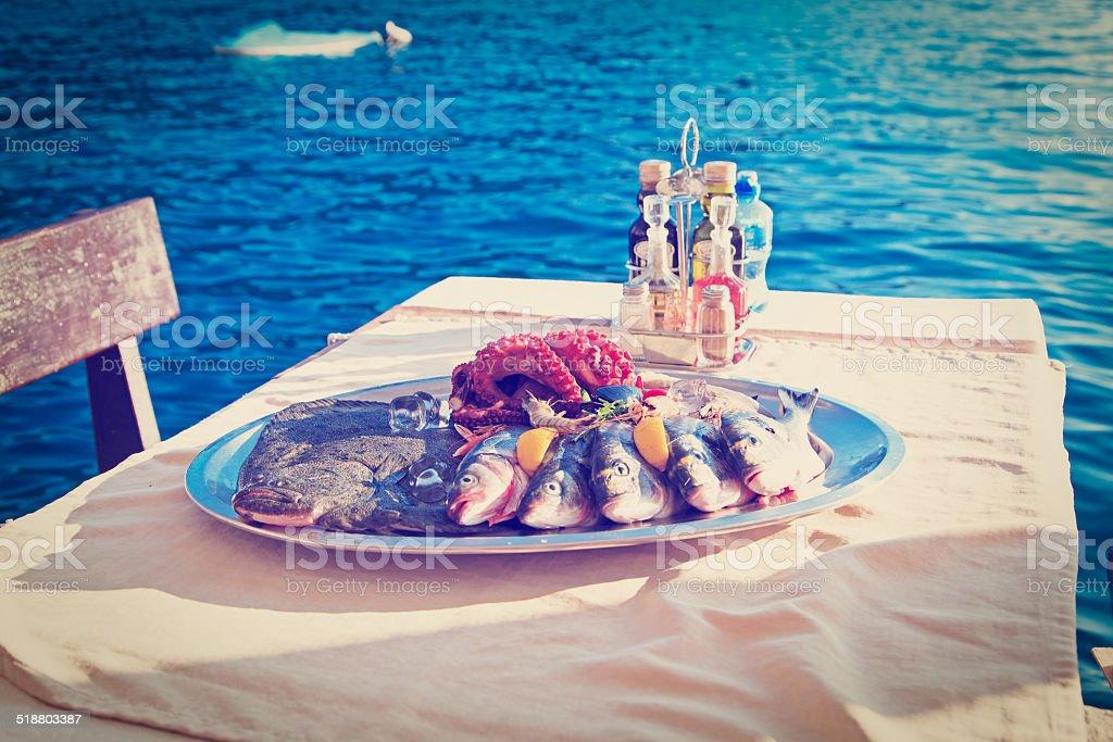 fresh seafood plate stock photo