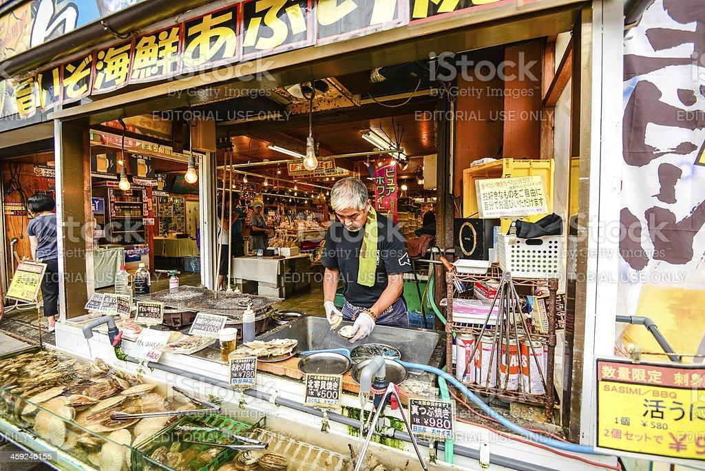 Fresh Seafood Shop in Otaru, Sapporo, Hokkaido, Japan royalty-free stock photo