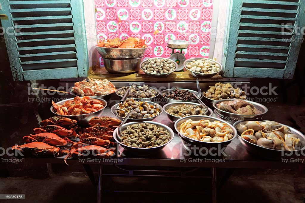 fresh seafood street stall in Ho Chi Minh City, Vietnam stock photo