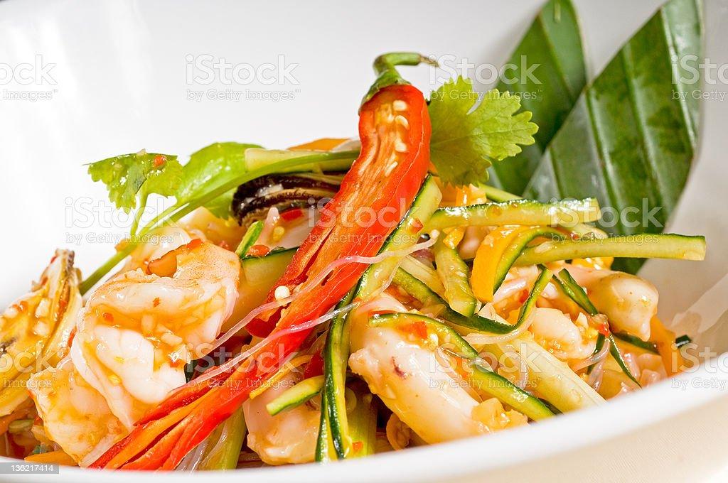 fresh seafood thai salad royalty-free stock photo