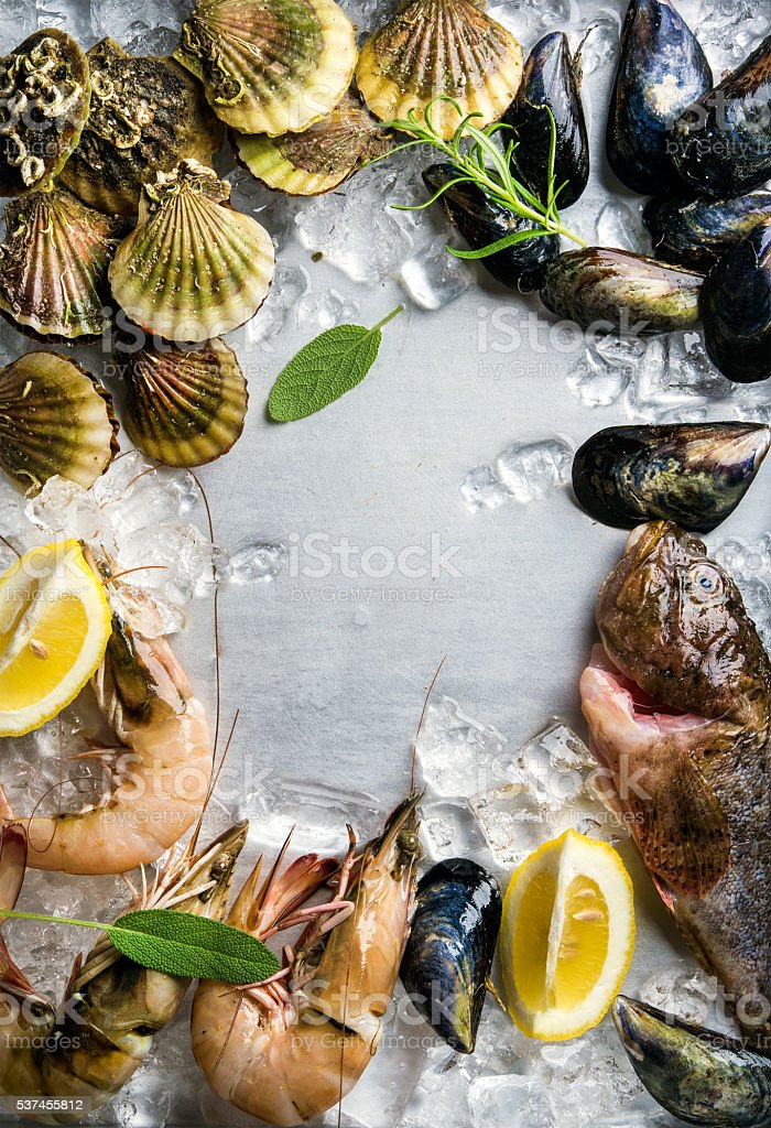 Fresh seafood with herbs and lemon on ice. Prawns, fish stock photo