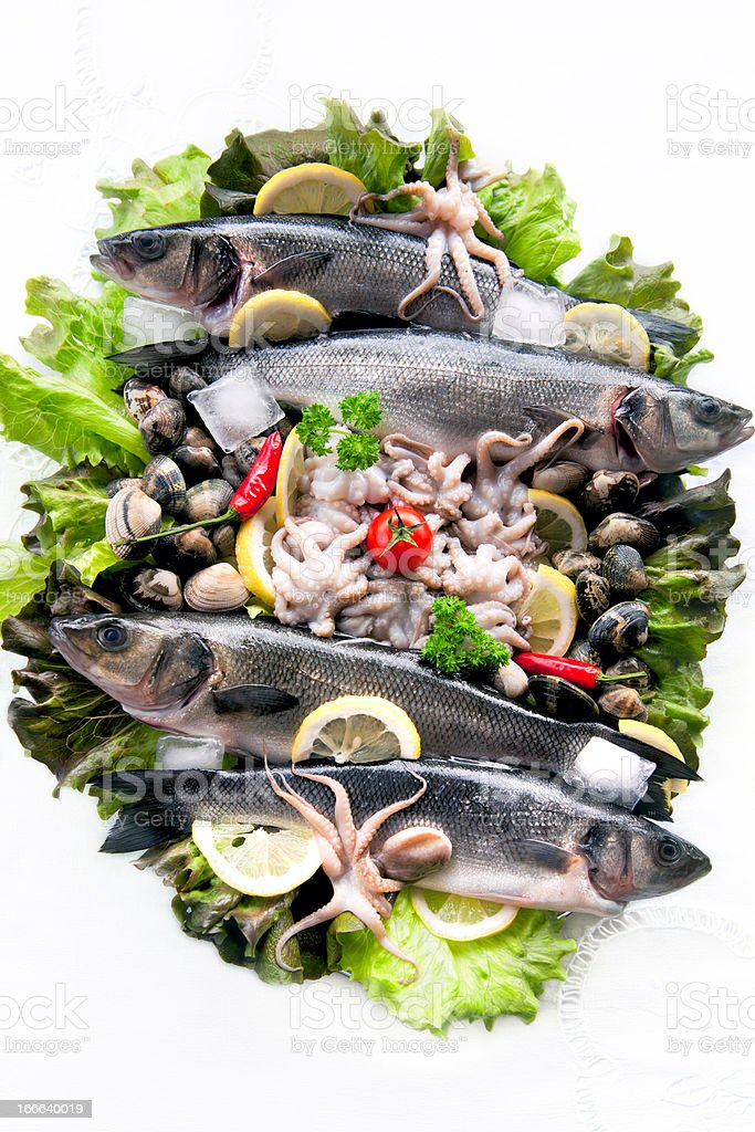 Fresh Seafood with vegetables royalty-free stock photo