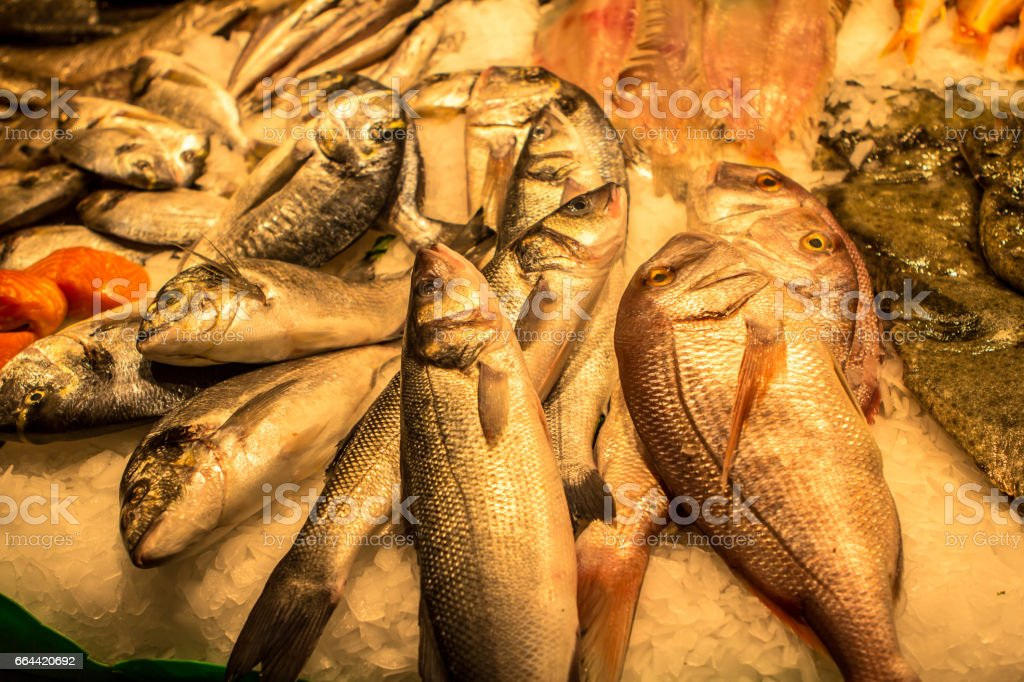 Fresh seafoods at the market in Barcelona stock photo