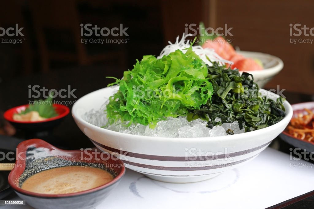 fresh seaweed in Japanese style. stock photo