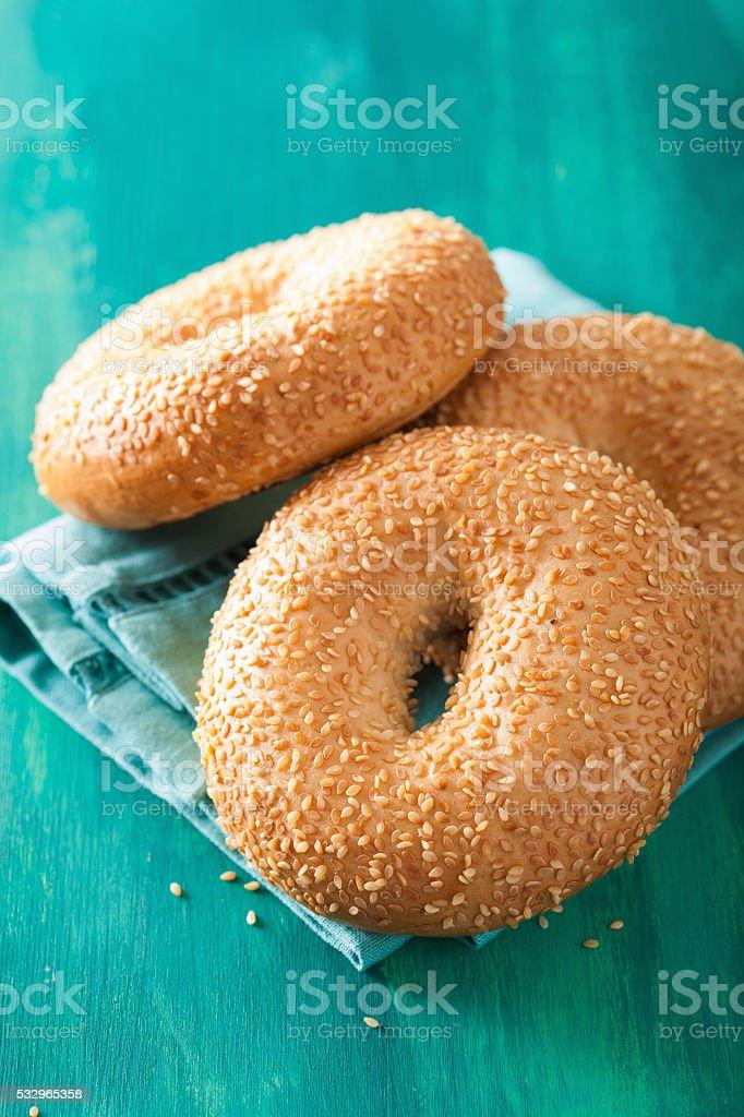 fresh sesame bagel for breakfast stock photo