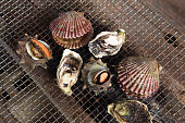 fresh shellfish barbecue - Oyster and scallop grill