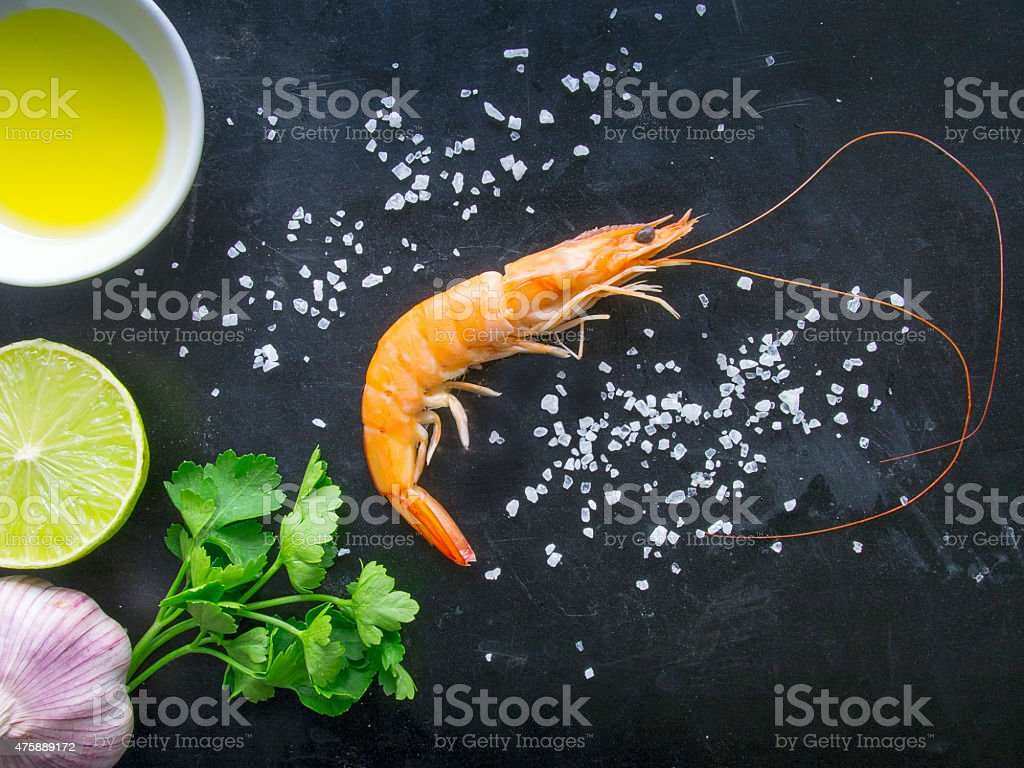 Fresh Shrimp on dark background stock photo