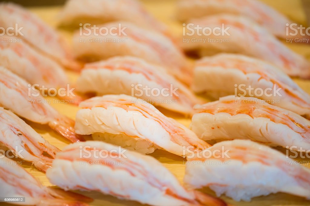 Fresh shrimp sushi stock photo