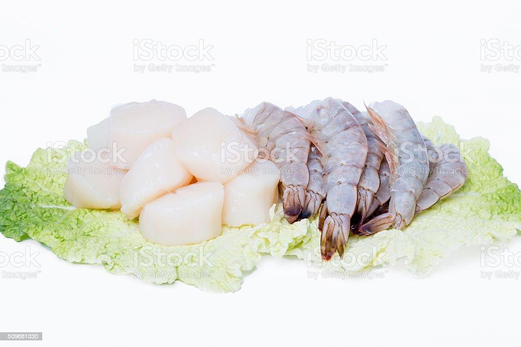 Fresh shrmip and  scallops stock photo