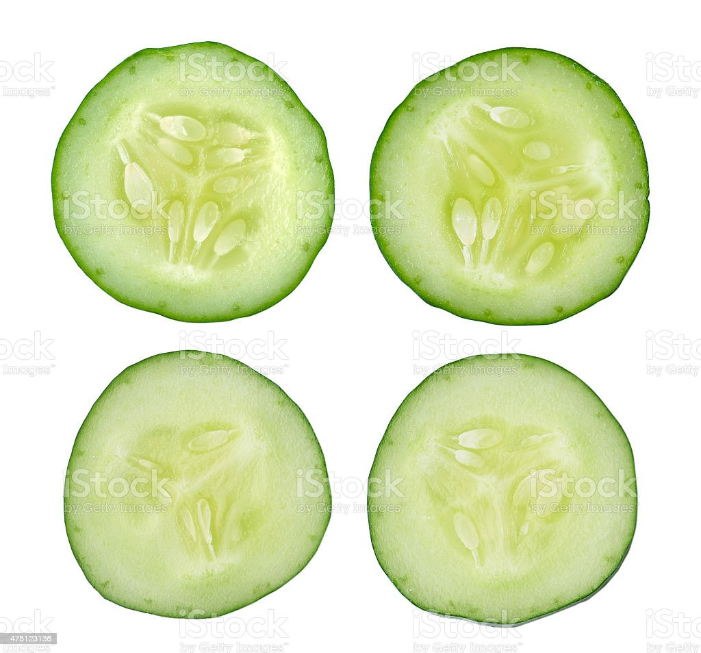 Fresh slice cucumber on white background stock photo
