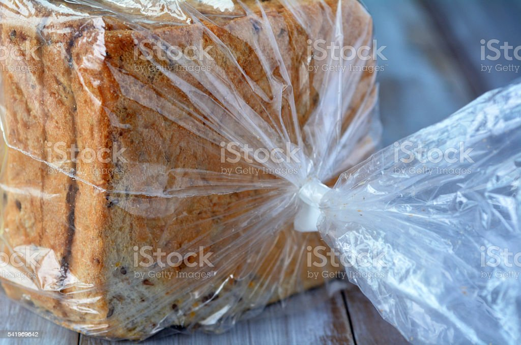 Fresh Sliced bread in a bag stock photo