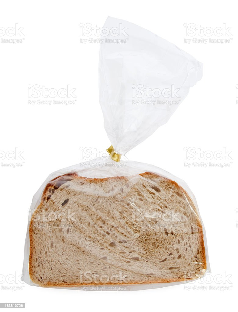 fresh sliced bread in transparent plastic folie isolated on white stock photo